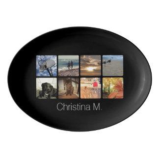 Custom Multi Photo Mosaic Picture Collage Porcelain Serving Platter