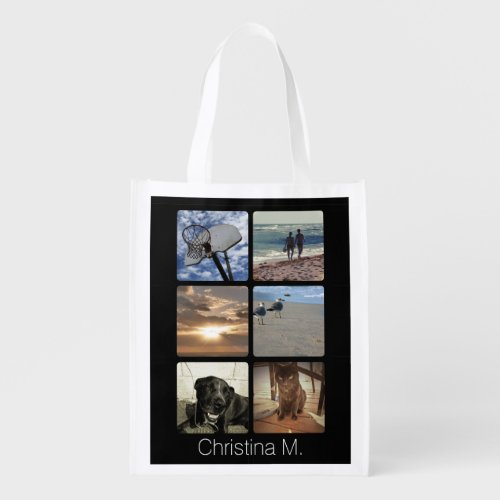 Custom Multi Photo Mosaic Picture Collage Reusable Grocery Bag