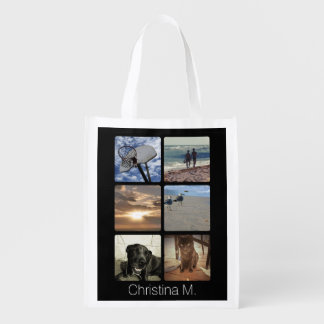 Custom Multi Photo Mosaic Picture Collage Reusable Grocery Bags