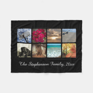 Custom Multi Photo Name Mosaic Picture Collage Fleece Blanket