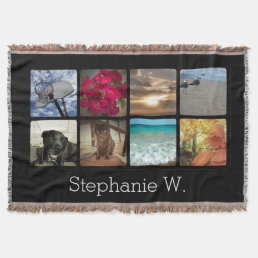 Custom Multi Photo Name Mosaic Picture Collage Throw Blanket