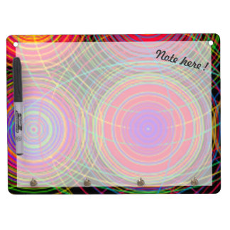Custom multicolor monochrome circles dry erase board with keychain holder