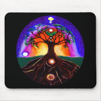 Custom multicolor unique painted tree of life mouse pad