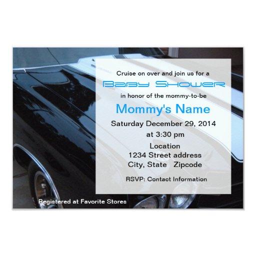Custom Muscle Car Baby Shower Invitation - Blue