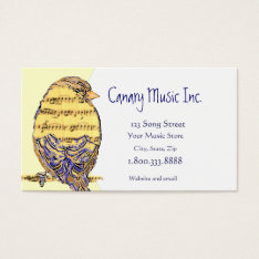 Custom Music & Bird Business Card at Zazzle