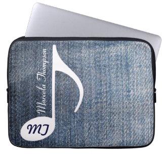 custom music note on jeans laptop sleeve