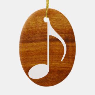custom music note on wood ceramic ornament