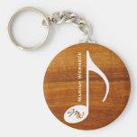 custom music note on wood keychain