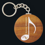 "custom music note on wood keychain<br><div class=""desc"">Personalizable musical note on wood print texture</div>"