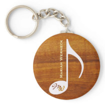 custom music note on wood keychain