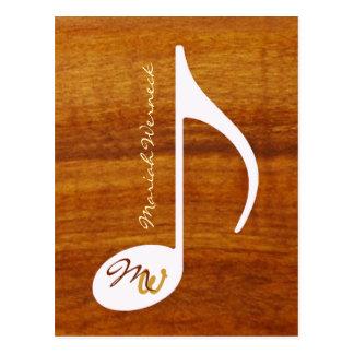 custom music note on wood postcard