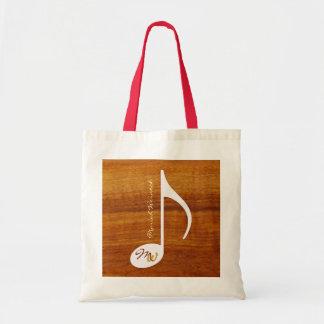 custom music note on wood tote bag
