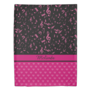 Custom Music Notes and Hearts Pattern Pink Black Duvet Cover