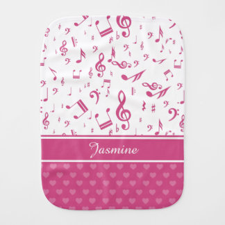 Custom Music Notes and Hearts Pattern Pink White Baby Burp Cloth