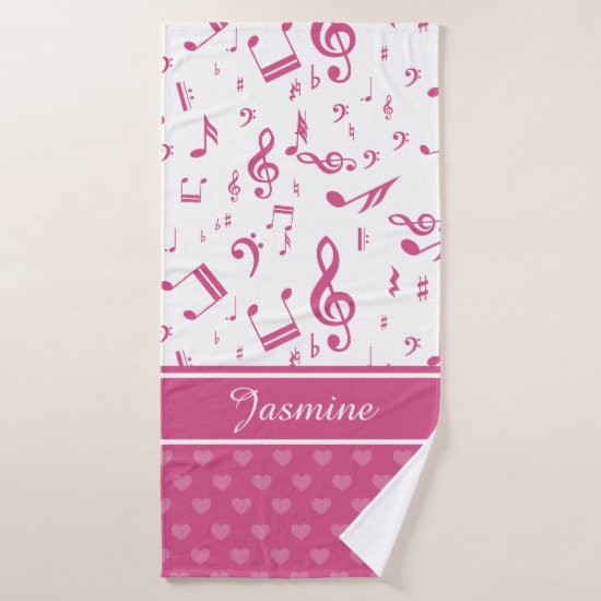 Custom Music Notes and Hearts Pattern Pink White Bath Towel