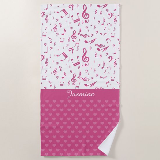 Custom Music Notes and Hearts Pattern Pink White Beach Towel