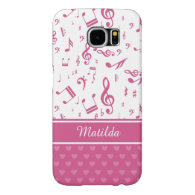 Custom Music Notes and Hearts Pattern Pink White Samsung Galaxy S6 Cases