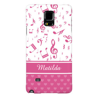 Custom Music Notes and Hearts Pattern Pink White Galaxy Note 4 Case