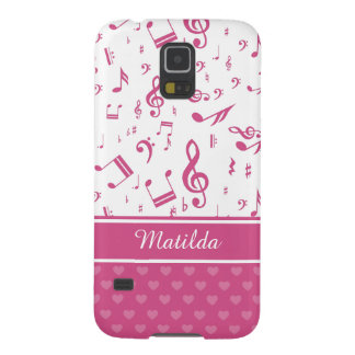 Custom Music Notes and Hearts Pattern Pink White Galaxy S5 Cover