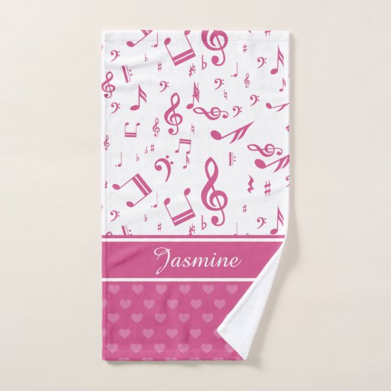 Custom Music Notes and Hearts Pattern Pink White Hand Towel