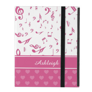 Custom Music Notes and Hearts Pattern Pink White iPad Covers