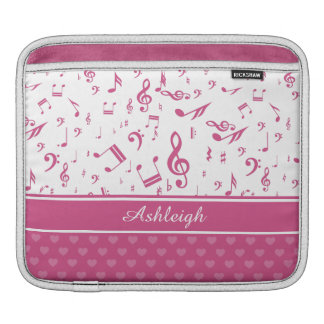 Custom Music Notes and Hearts Pattern Pink White iPad Sleeves