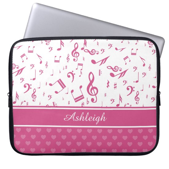 Custom Music Notes and Hearts Pattern Pink White Laptop Sleeve