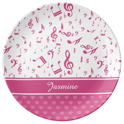 Custom Music Notes and Hearts Pattern Pink White Porcelain Plates