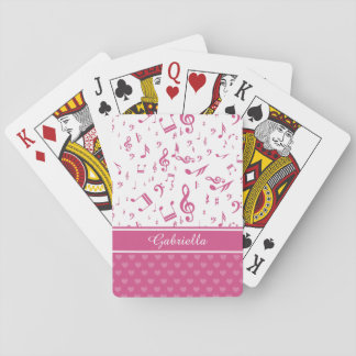 Custom Music Notes and Hearts Pattern Pink White Poker Deck