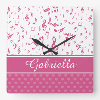 Custom Music Notes and Hearts Pattern Pink White Square Wall Clock