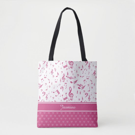 Custom Music Notes and Hearts Pattern Pink White Tote Bag