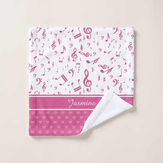 Custom Music Notes and Hearts Pattern Pink White Wash Cloth