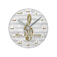 Custom Musical Note Clock Glitter Gold