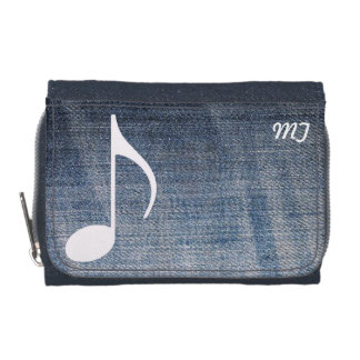 custom musical note on jeans texture wallet