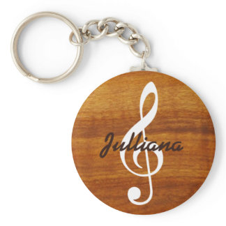custom musical note on wood keychain
