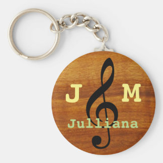 custom musical treble clef on wood basic round button keychain