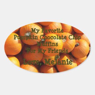 Custom My Favorite Pumpkin Chocolate Chip Muffins Oval Sticker