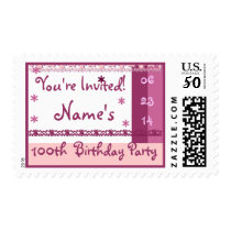 Custom Name 100th Birthday Party in PINK Lace Postage