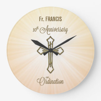 Custom Name, 10th Anniversary of Ordination Large Clock