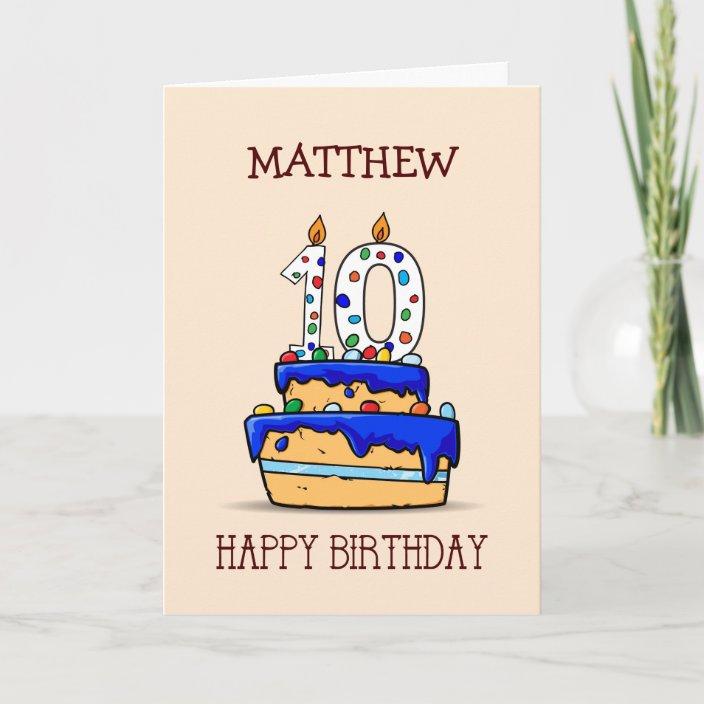 Stupendous Custom Name 10Th Birthday 10 On Sweet Blue Cake Card Zazzle Funny Birthday Cards Online Inifodamsfinfo