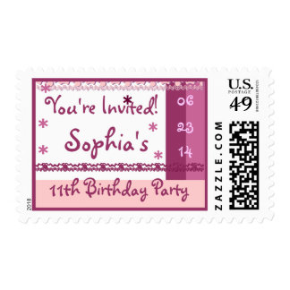 Custom Name 10th Birthday Party in PINK Lace Postage Stamp