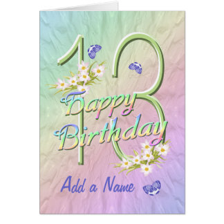 Custom Name 13th Birthday Butterfly Garden Card