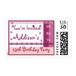 Custom Name 13th Birthday Party in PINK Lace Postage