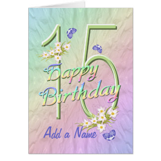 Custom Name 15th Birthday Butterfly Garden Card