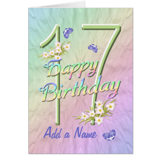 Custom Name 17th Birthday Butterfly Garden Card