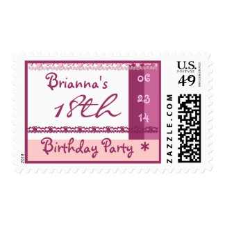 Custom Name 18th  Birthday Party in PINK Stamps