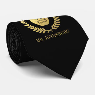 Custom Name #1 Teacher Black Faux Gold Neck Tie