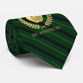 Custom Name #1 Teacher Faux Gold Green Striped Neck Tie