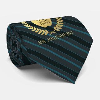 Custom Name #1 Teacher Faux Gold Slate Teal Neck Tie