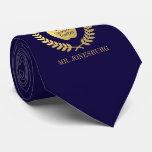 Custom Name #1 Teacher Indigo Faux Gold Tie